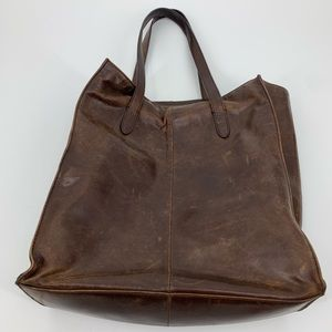 J Crew Factory tote brown leather large zip pocket